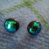 Circular dichroic glass ear studs