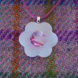 White and pink flower pendant
