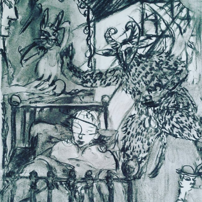 Midnight of the faune. Drawing for large painting , Charcoal on paper A4