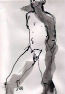 "STANDING MALE no.2   ink on paper      8""X6"""
