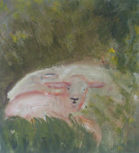 tired ewe and newborn lamb ;2003<br> oil on canvas 100cm x110