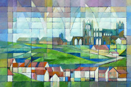Skyhigh, Whitby Abbey. Acrylic