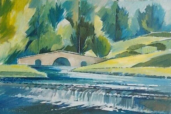Bridge at Fountains Abbey. Oil