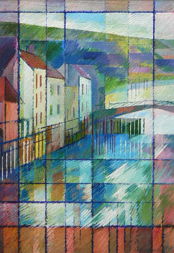 Jewel Lights at the Bridge, Whitby. Acrylic