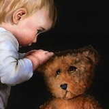 Mending Teddy : Oil on canvas  26 x 22 ins