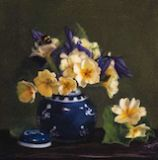 Primroses and Bumble bees: 12 x 12 ins Oil on canvas