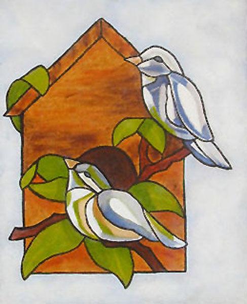 bird box, oil on board, 20cm x 25cm