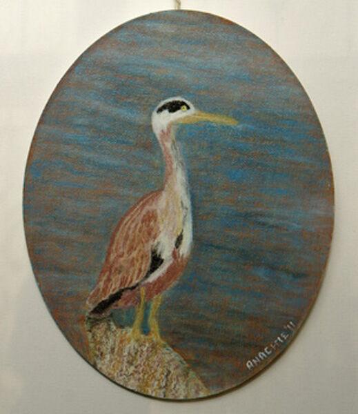 crane, oil pastel on board, 20cm x 25cm