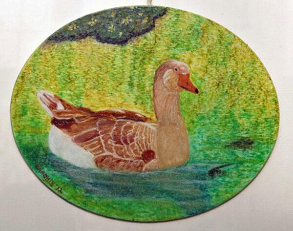 duck, oil pastel on board, 20cm x 25cm