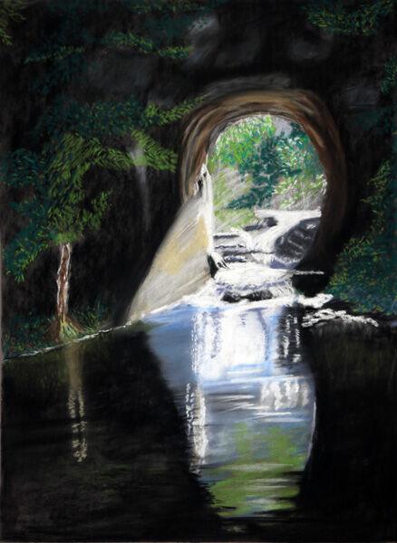 fairy grotto, hard pastel, 30cm x 40cm