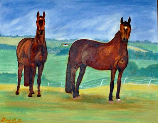 horses, oil on board, 40cm x 50cm