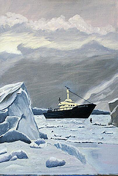 icebreaker, oil on board, 42cm x 60cm