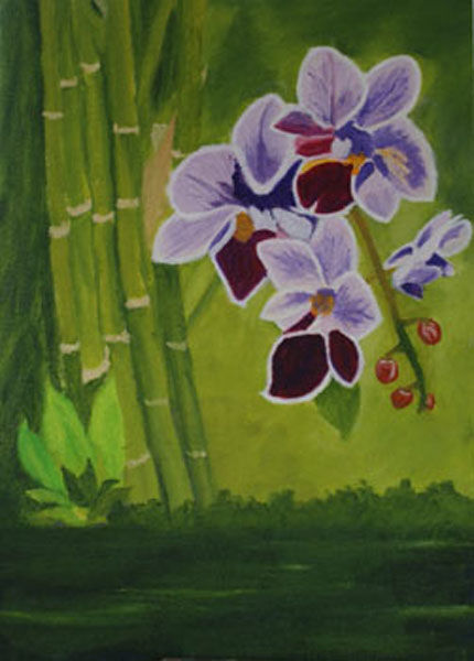 orchids, oil on board, 25,5 x 35,5cm