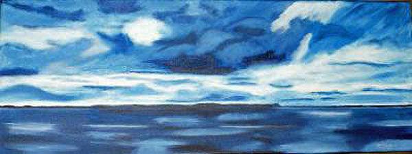 sea and sky, oil on canvas, 30cm x 80cm