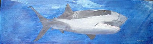shark, oil on canvas, 30cm x 100cm