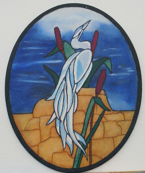 stork, oil on board, 20cm x 25cm