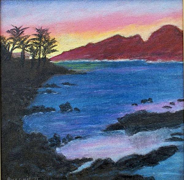 sundown, oil on canvas, 20cm x 20cm