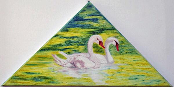 swans, oil pastel on canvas, 28cm x 47cm