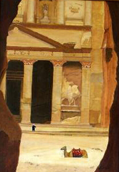 treasury at petra, oil on board, 40cm x 60cm