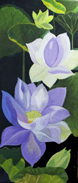 water lily, oil on canvas, 20cm x 46cm