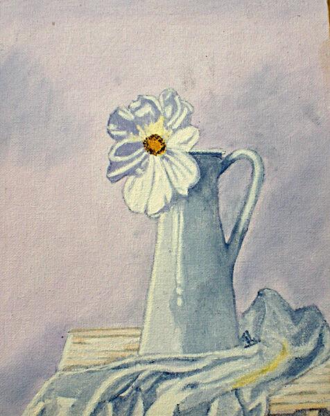 white daisy, oil on board, 20cm x 25cm
