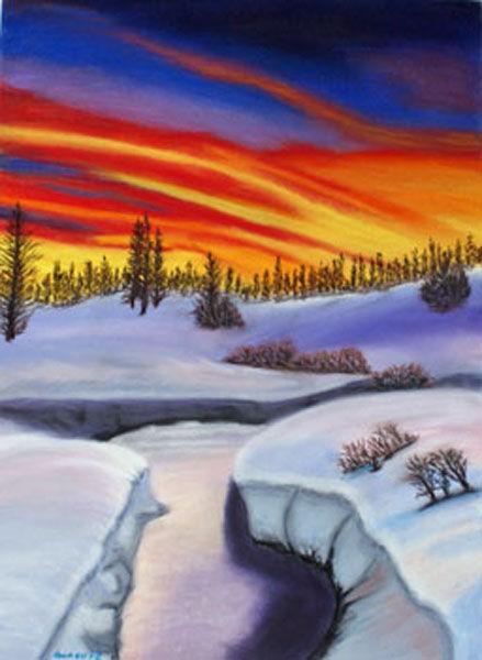 winter sun, hard pastel, 30cm x 40cm