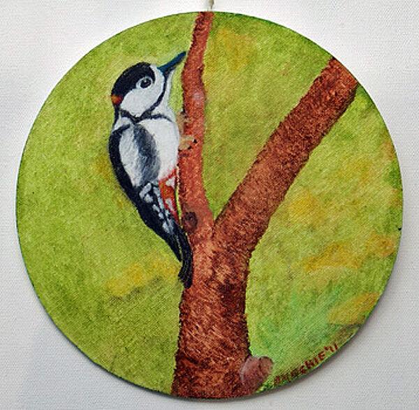 woodpecker, oil on board, 20cm x 20cm