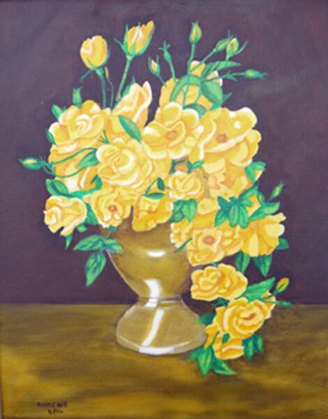 yellow roses, oil on board, 40cm x 50cm