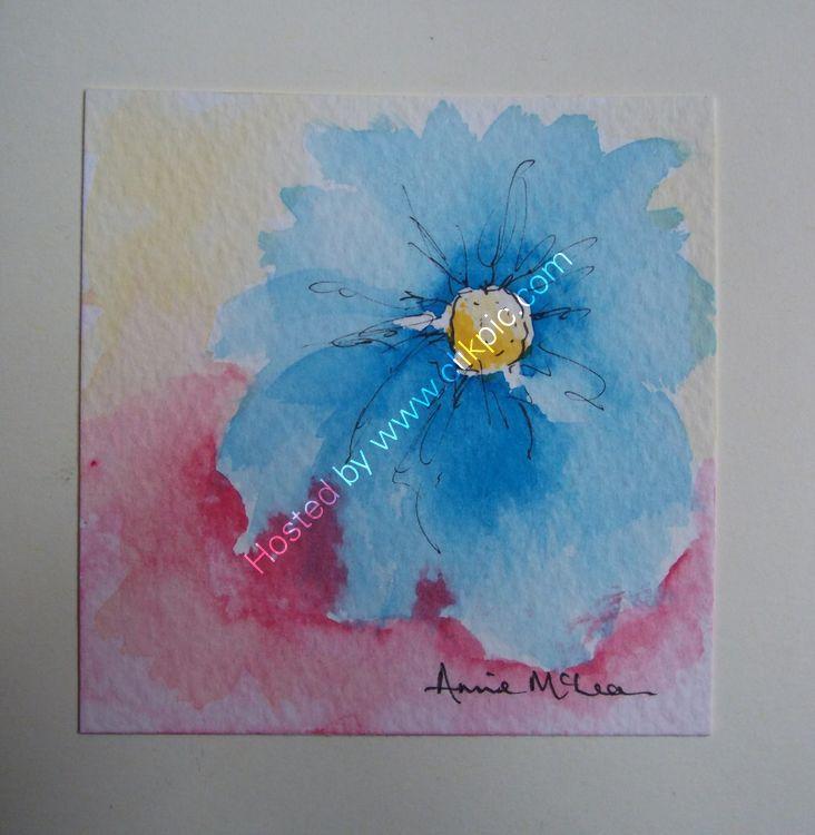 BLUE DAHLIA - Greetings Card (blank inside) 10 x 10cm