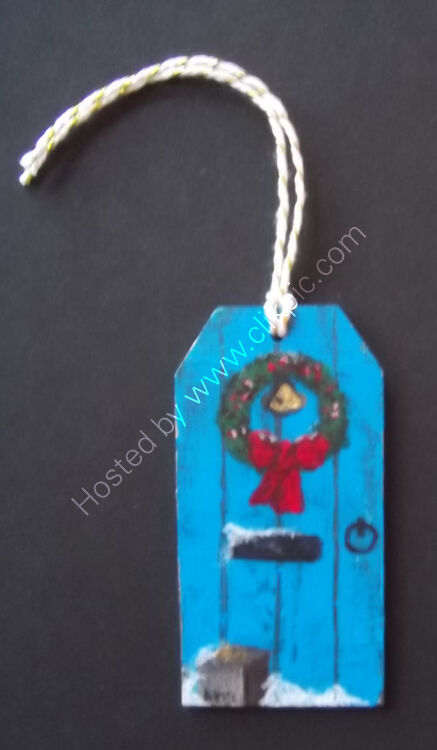 BLUE DOOR gift tag / tree ornament 4x8cm - single
