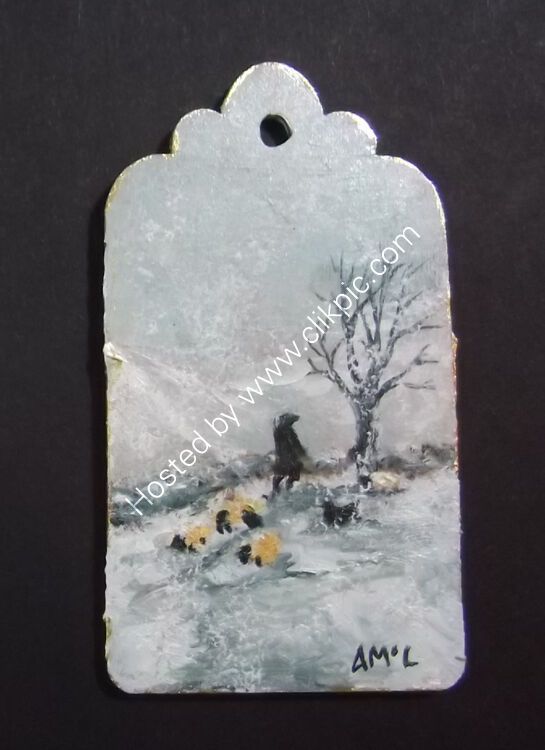 GATHERING IN THE SHEEP - gift tag 4x7cm single