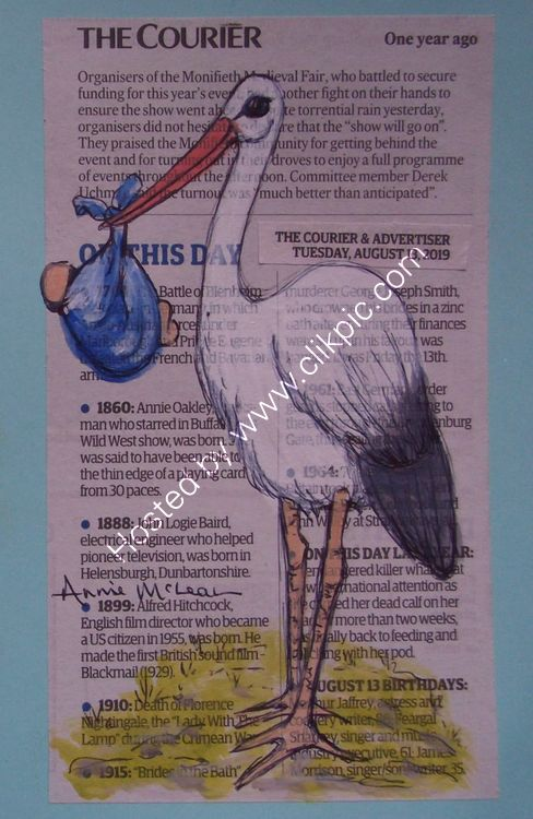 LOOK WHAT THE STORK BROUGHT [blue] - Greeting Card (blank inside) 12.5 x 17.5cm SOLD
