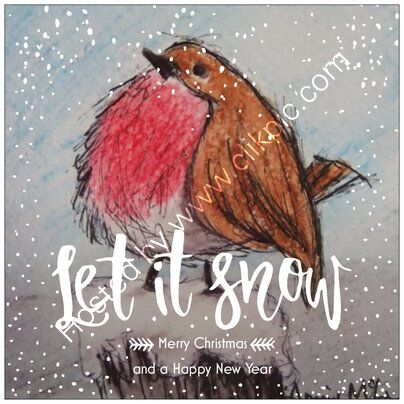Robin - Let It Snow greetings card 14x14cm