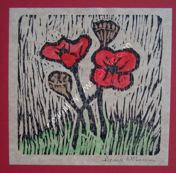 POPPIES greetings card [blank inside] 12.5x12.5cm [red]