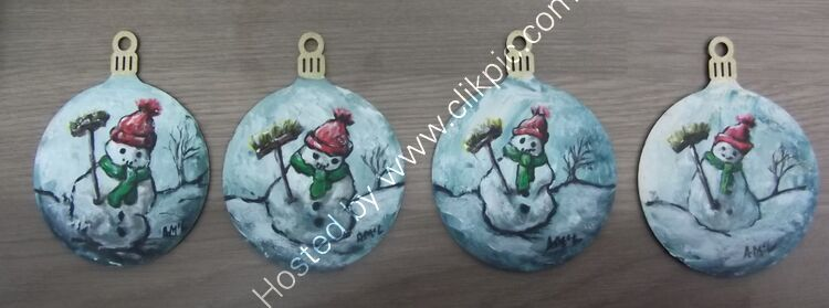 Snowman Baubles 7x9cm - set of four