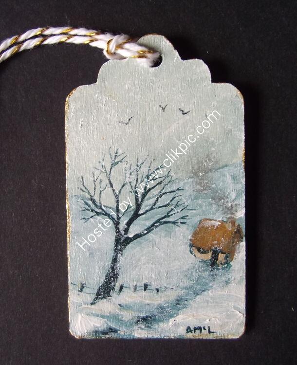 SNOWY HOMESTEAD 4x7cm gift tag
