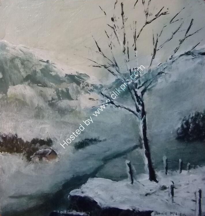 THE WEE HOOSE IN THE GLEN [winter] 10x10cm