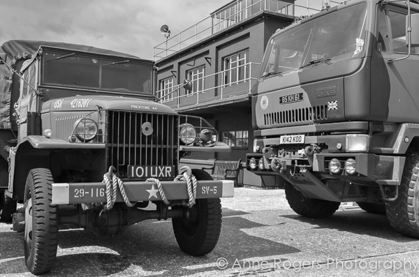 Military Vehicles in Front of the Control Tower at RAF East Kirkby