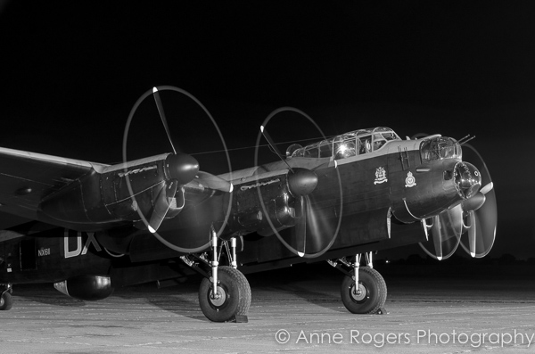 Avro Lancaster NX611 Just Jane shuts down her engines after a night run.
