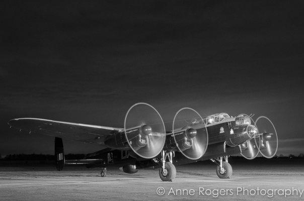 Avro Lancaster NX611 Just Jane Night Running