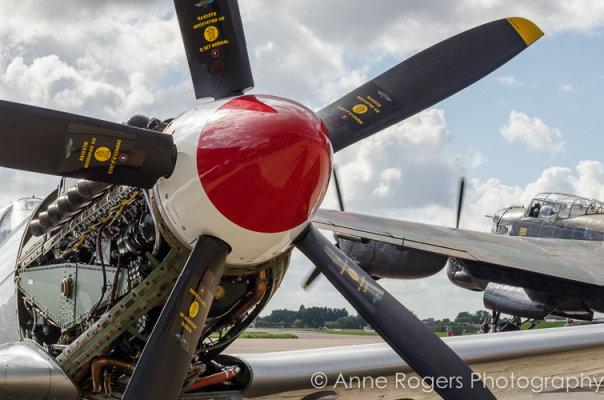 Spitfire Prop and Engine Detail, Lancaster PA474 Starting Behind