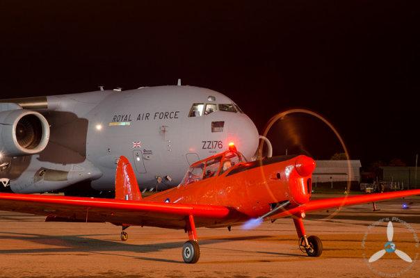 The 'Royal Chipmunk' WP903 Night Running at RAF Brize Norton