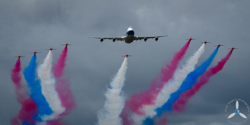 BA Centenary BOAC Liveried 747 with the Red Arrows, RIAT 2019