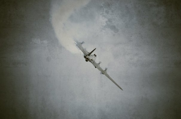B17 Flying Fortress 'Sally B' Trailing Smoke to Honour the Fallen