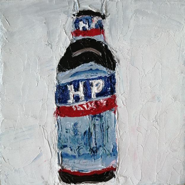 HP Sauce 20x20cms oil on canvas framed