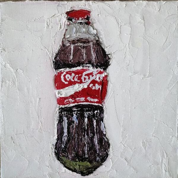 Coca Cola 20x20cms oil on canvas framed (sold)