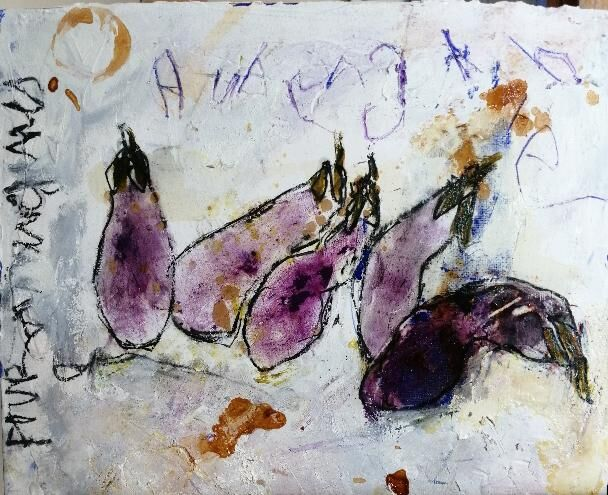 Aubergines 10x12ins. framed