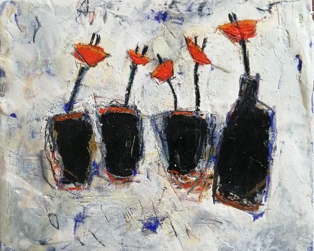 Orange Flowers 10x12ins. framed