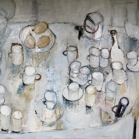 White Mugs and Three Pears oil on canvas 91x120cms framed
