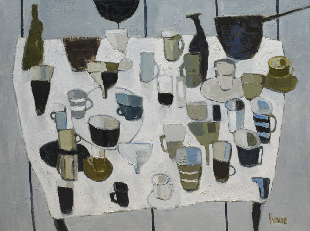 Table With Stoneware<br>Oil on Canvas, Framed, 91x120cm<br>SOLD